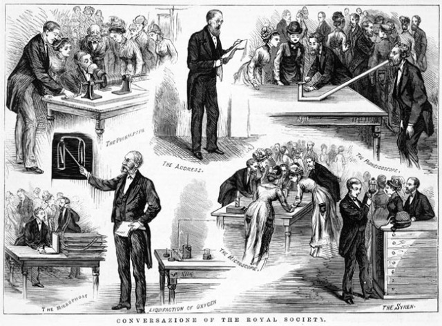 Robert Ellery, Government Astonomer & President of the Royal Society of Victoria, giving the address to the annualConversazione, Australian Sketcher, 11 September 1860Source: State Library of Victoria