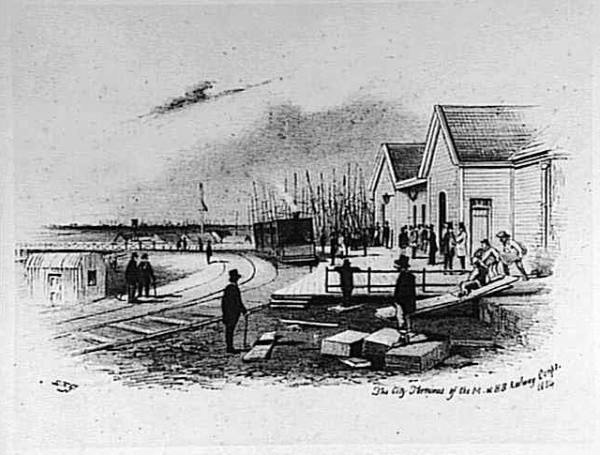 The Flinders Street Terminus of the Melbourne to Hobson's Bay railroad, 1854